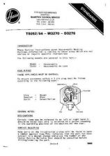 Buy HOOVER T5052 SERVICE MANUAL by download #108733