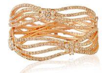 Buy Gold tone broad wavy cz crystal 2pc bangle bracelet k16