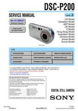 Buy Sony DSC-P200-2 Service Manual by download Mauritron #231919