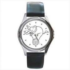 Buy Circus Elephant Black and White Unisex Round Wrist Watch