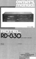Buy ROTEL RD830 Manual by download Mauritron #230393