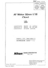 Buy NIKON Nikkor 50mm Parts List (Revised-1) by download Mauritron #266125