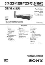 Buy SONY SLVE500CP VIDEO SERVICE MANUAL Technical Info by download #105151