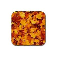 Buy Maple Leaf Pattern Set Of 4 Square Rubber Coasters