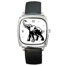 Buy Lucky Elephant Unisex Square Black White Art Watch NEW