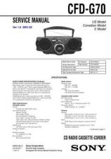Buy Sony CFD-G70 Service Information by download Mauritron #237652