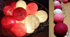 Buy LOVELY PINK WHITE 20 COTTON BALL STRING LIGHTS PARTY WEDDING HOME GARDEN DÉCOR