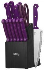 Buy Knife Set Chef 14 PC Cutlery HolderBlock Purple Black Kitchen Ginsu Chop Steel