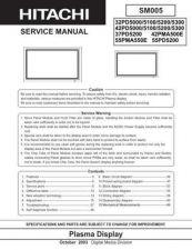 Buy HITACHI 55PD5200 SERVICE MANUAL Manual by download Mauritron #230069