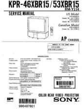 Buy Sony KPR-53XBR15 Manual by download Mauritron #229425