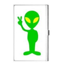 Buy Green Alien Peace Sign Art Business Credit Card Holder