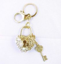 Buy NewHeart lock & key Fashion Bag Crystal Rhinestone Pendant Keyring Keychain Gift