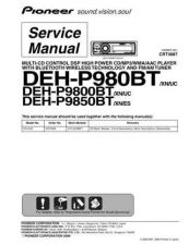 Buy Pioneer DEH-P9850BT-2 Service Manual by download Mauritron #233915