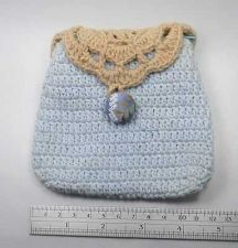 Buy NEW THAI CUTE HANDMADE BLUE-BROWN YARN KNITTED SMALL BAG UNIQUE WALLET COIN J