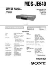 Buy Sony MDS-JE630 Service Manual. by download Mauritron #242701