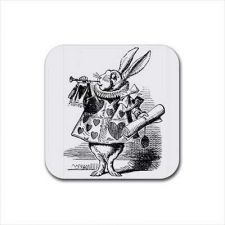 Buy White Rabbit Herald Alice In Wonderland Set Of 4 Square Rubber Coasters