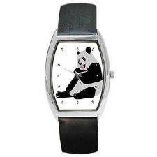 Buy Panda Bear Eating Leaf Art Barrel Wrist Watch