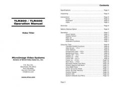 Buy MICRO IMAGE VIDEO SYSTEMS TLR300-400OM INSTRUCTIONS by download #118894