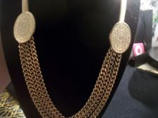 Buy Vintage Gold Tone Metal Stretch Belt with Egyptian/Mayan Coins link Chain