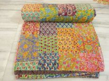 Buy Indian hand made kantha quilt patchwork rally throw bed cover gudari bedspread