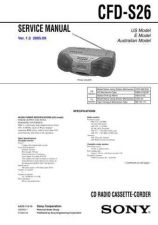 Buy Sony CFD-S26 Service Manual by download Mauritron #238820