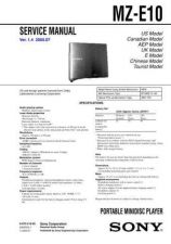 Buy Sony MZ-N10 Technical Information by download Mauritron #235793