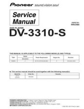 Buy Pioneer DV-3310-S-2 Service Manual by download Mauritron #234085