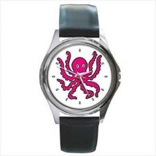 Buy Pink Octopus Unisex Round Wrist Watch New
