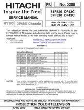 Buy Hitachi 51F520- DP43C Service Manual by download Mauritron #262995