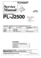 Buy PIONEER PLJ2500 RRV1609 Technical Information by download #119345