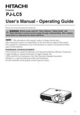 Buy Hitachi PJLC2001 ES Manual by download Mauritron #225396