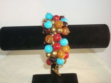 Buy Cluster multi colored Bead arm/wrist bracelet Gold tone toggle clasp/christmas