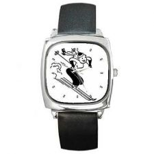 Buy Downhill Skiing Woman Retro Ski Art New Wrist Watch
