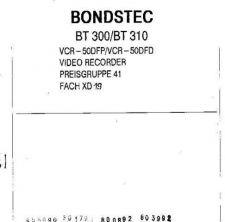 Buy BONDSTEC BT300,310 VCR50DFP, by download #107741
