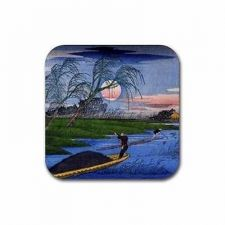 Buy Ando Hiroshige Japanese Fishermen Art Set Of 4 Square Rubber Coasters