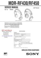 Buy SONY MDRRF430 MDRRF450 Technical Info by download #104811