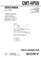 Buy Sony CMT-HPX9 Service Manual by download Mauritron #231774