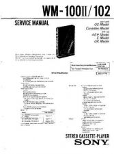 Buy Sony WM-100ii-102 Service Manual. by download Mauritron #245607