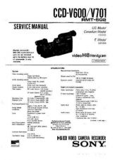 Buy SONY CCDV600 CAMCORDER SERVICE (A3617) Technical Info by download #104664