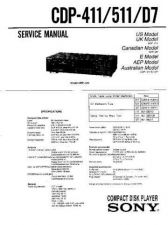 Buy Sony CDP-411-511-D7 Service Manual by download Mauritron #237226