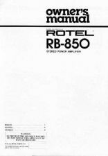 Buy ROTEL RB850 Manual by download Mauritron #230370