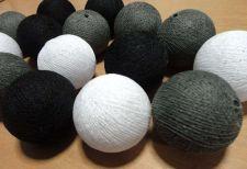 Buy 20 BLACK WHITE COTTON BALL STRING LIGHTS WEDDING PARTY HOME GARDEN DÉCOR PALIO