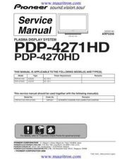 Buy Pioneer PDP-4270XA-WYV5 Service Manual by download Mauritron #234753