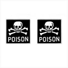 Buy Poison Skull Crossbones Label Square Cufflinks
