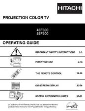 Buy Hitachi 43F300 Service Manual by download Mauritron #262742
