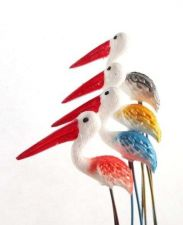 Buy 10 MINIATURES BIRD ANIMAL COLORFUL FAIRY GARDEN STAKES TERRARIUM DECOR