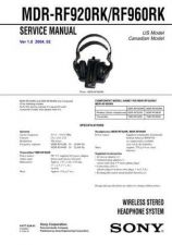 Buy Sony MDR-RF920RK-RF960RK Service Manual by download Mauritron #232215