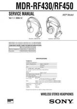 Buy Sony MDR-RF430-RF450 Service Manual. by download Mauritron #242613