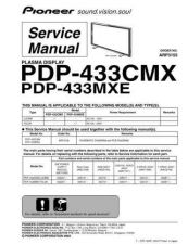 Buy Pioneer PDP-433CMX-MXE Service Manual by download Mauritron #234898