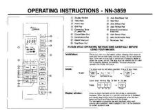 Buy Panasonic NN3859 Operating Instruction Book by download Mauritron #236136